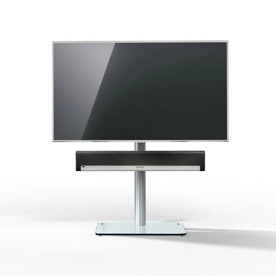 Tv Pied De Sol 96 8 Cm Support Barre De Son Base Verre # Meuble Tv Pour Barre De Son