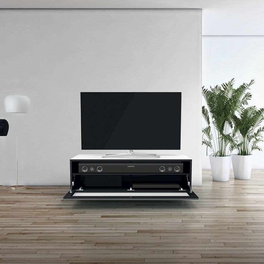 110 Cm Avec Un Abattant Tissu Acoustique Une Tag Re Blanc # Meuble Tv Avec Etagere Murale