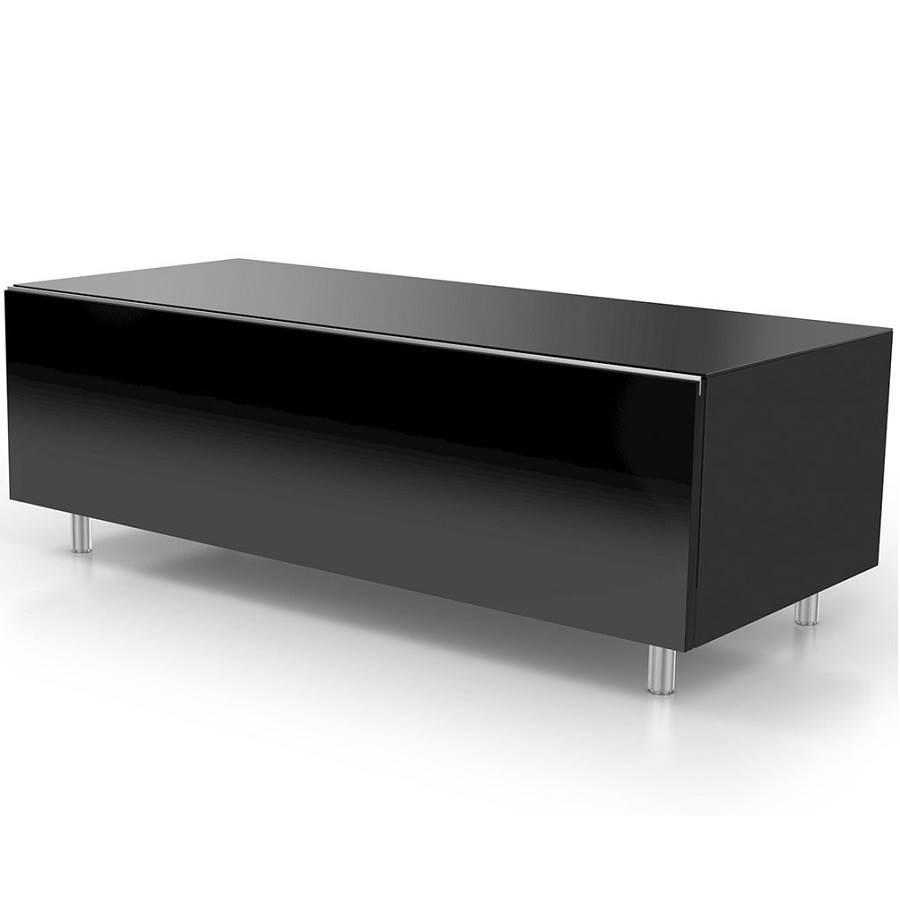 Meuble 110 cm avec un tiroir deux tag res noir for Meuble 110 x 80