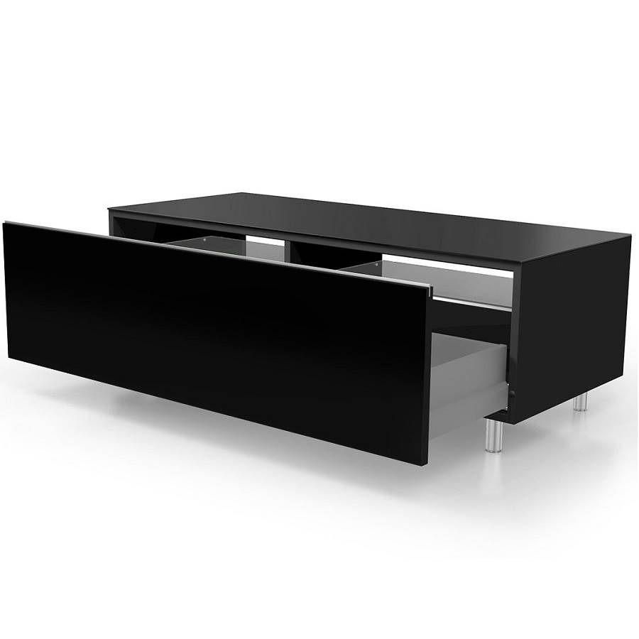 meuble 110 cm avec un tiroir deux tag res noir. Black Bedroom Furniture Sets. Home Design Ideas