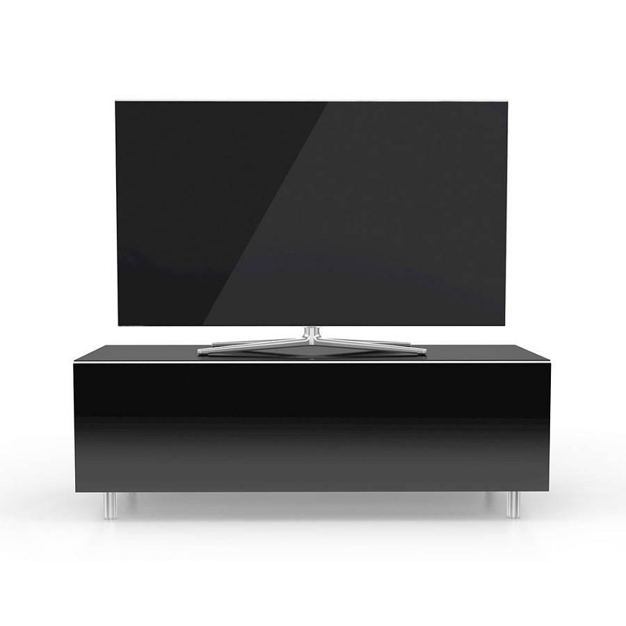 Meuble 110 cm avec un tiroir deux tag res noir for Meuble tv noir 110 cm